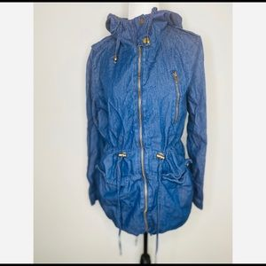 Miley and Molly Denim Zip-up Hooded Army Jacket